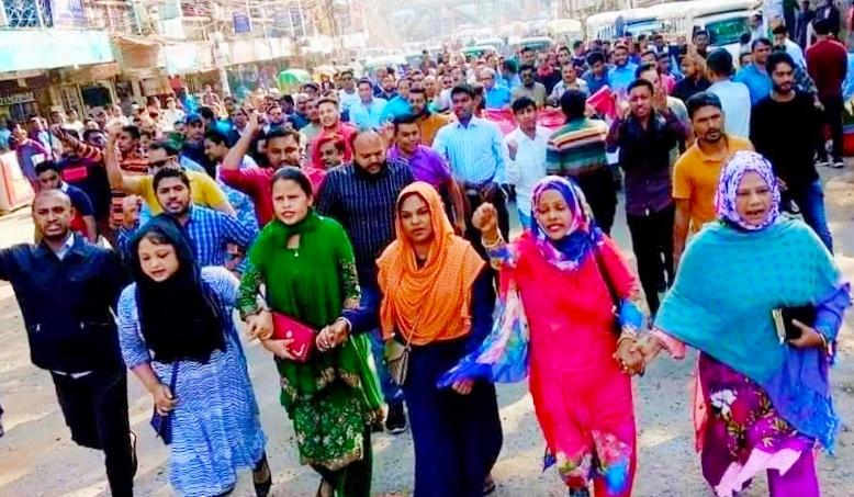 বেগম খালেদা জিয়ার মুক্তির দাবীতে সিলেটে বিএনপির মিছিল-সমাবেশ